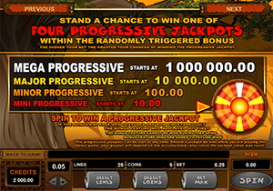 There are four progressive jackpots in the game