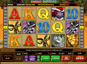 In Mega Moolah slot machine you'll fine many bonuses and free spins