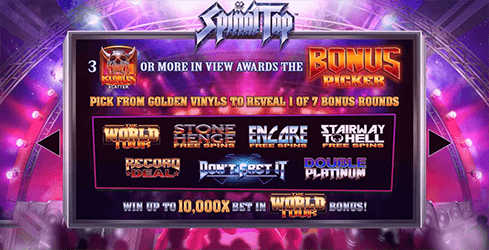 There are seven differens bonus games in Spinal Tap